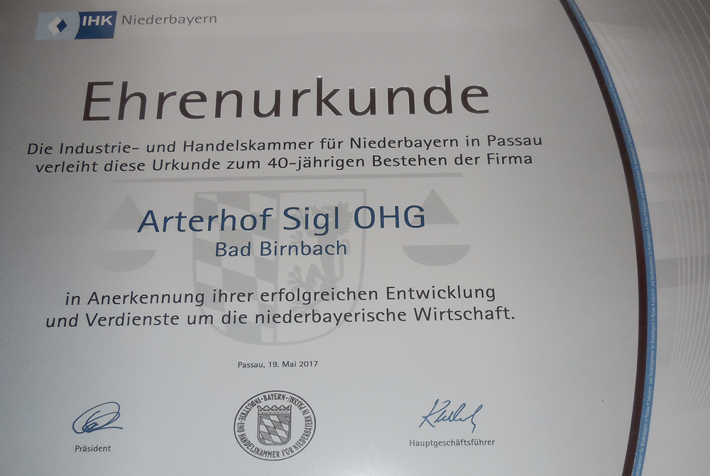 Ehrenurkunde IHK Arterhof Bad Birnbach
