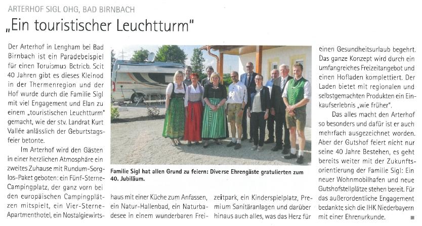 Arterhof Bad Birnbach Camping Wellness IHK Niederbayern