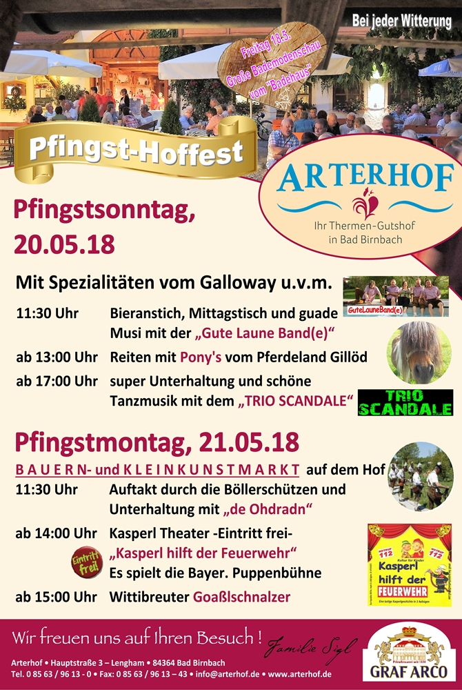 Pfingstfest Arterhof Bad Birnbach Thermenland